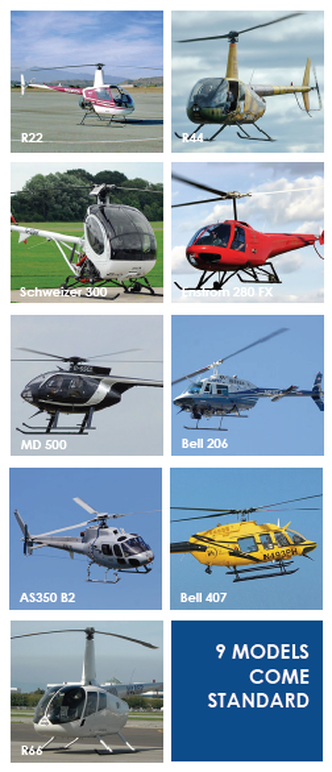 9 FLYIT Helicopter Simulator Models come standard